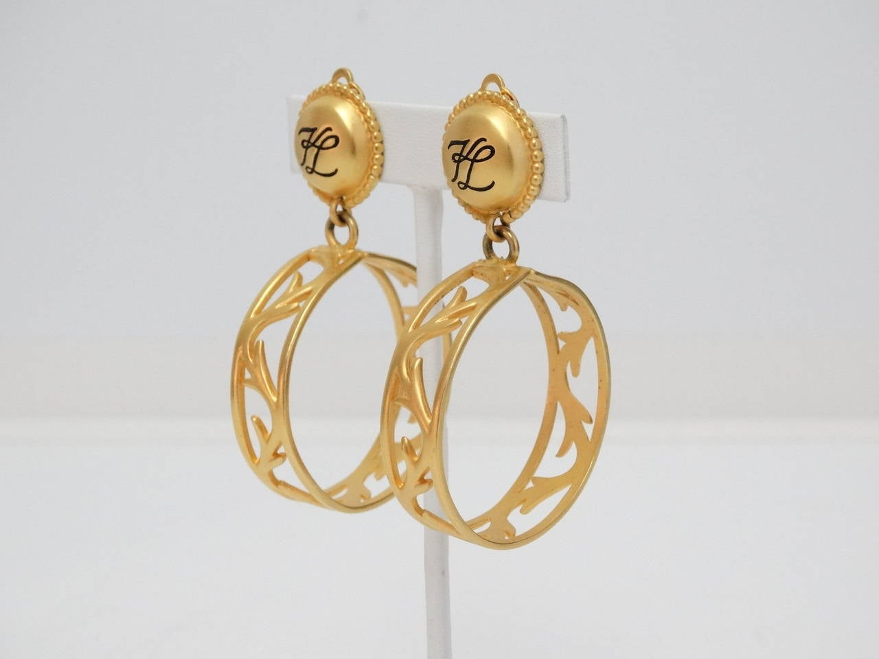 Women's 1980s Karl Lagerfeld Hoop Earrings For Sale