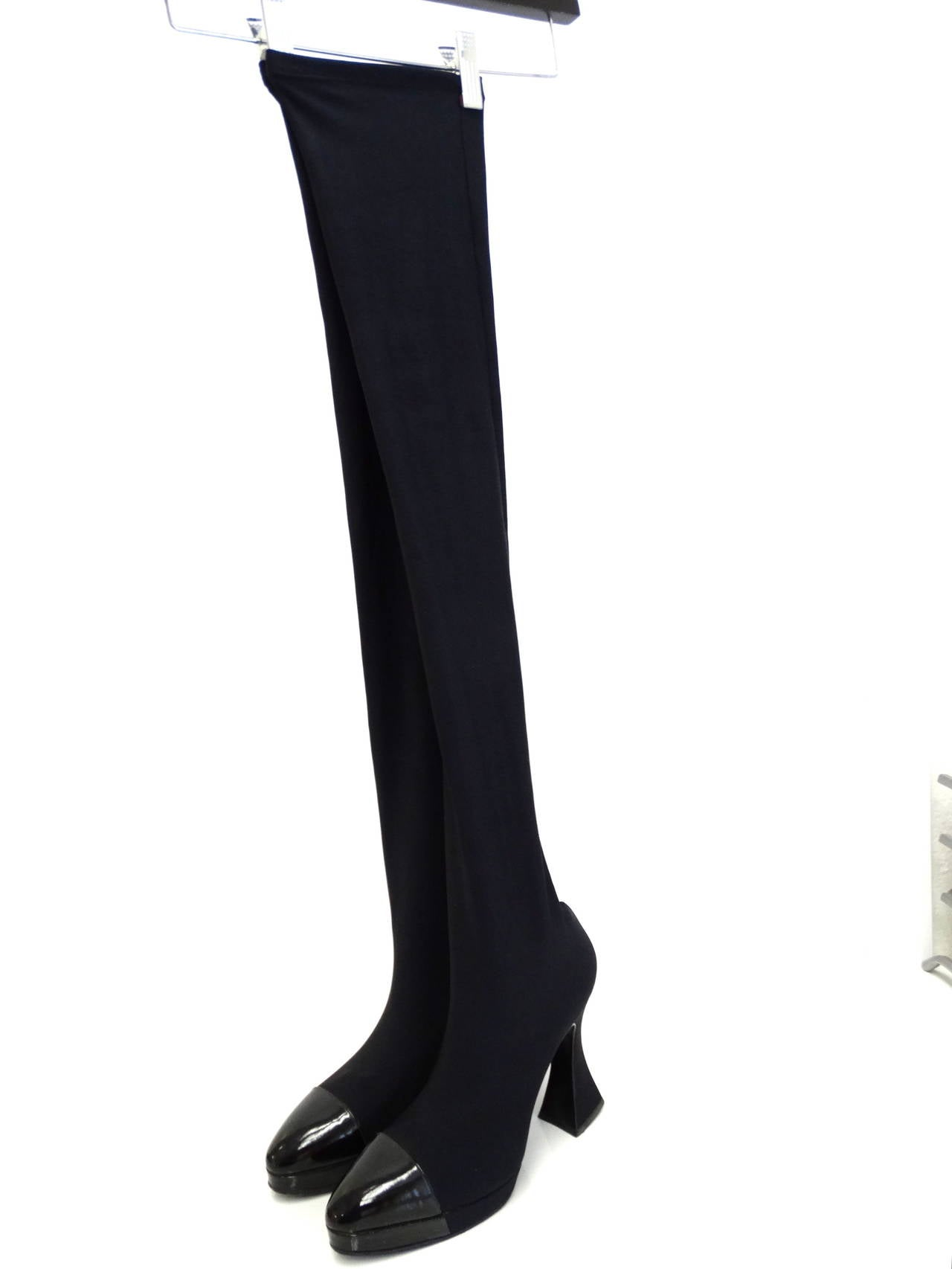 "1994 Chanel ""Vernice"" Strech Thigh High Boot 9"