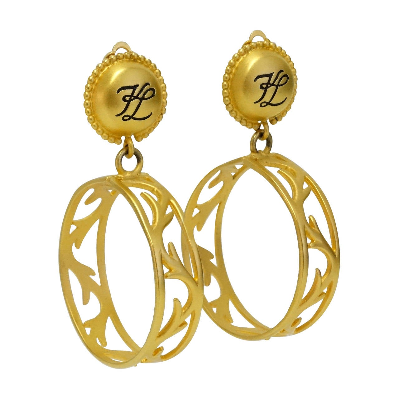 1980s Karl Lagerfeld Hoop Earrings For Sale