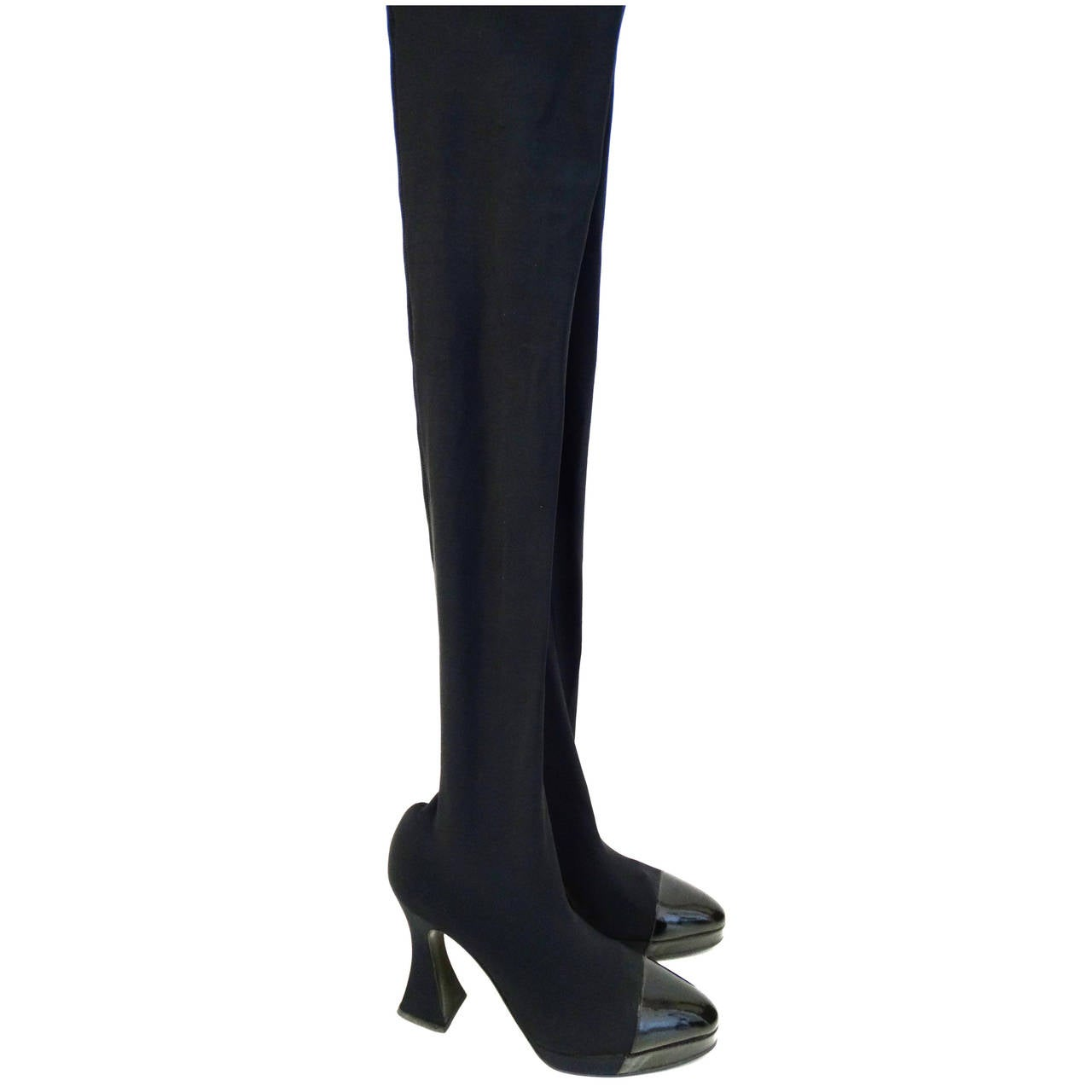 "1994 Chanel ""Vernice"" Strech Thigh High Boot 1"