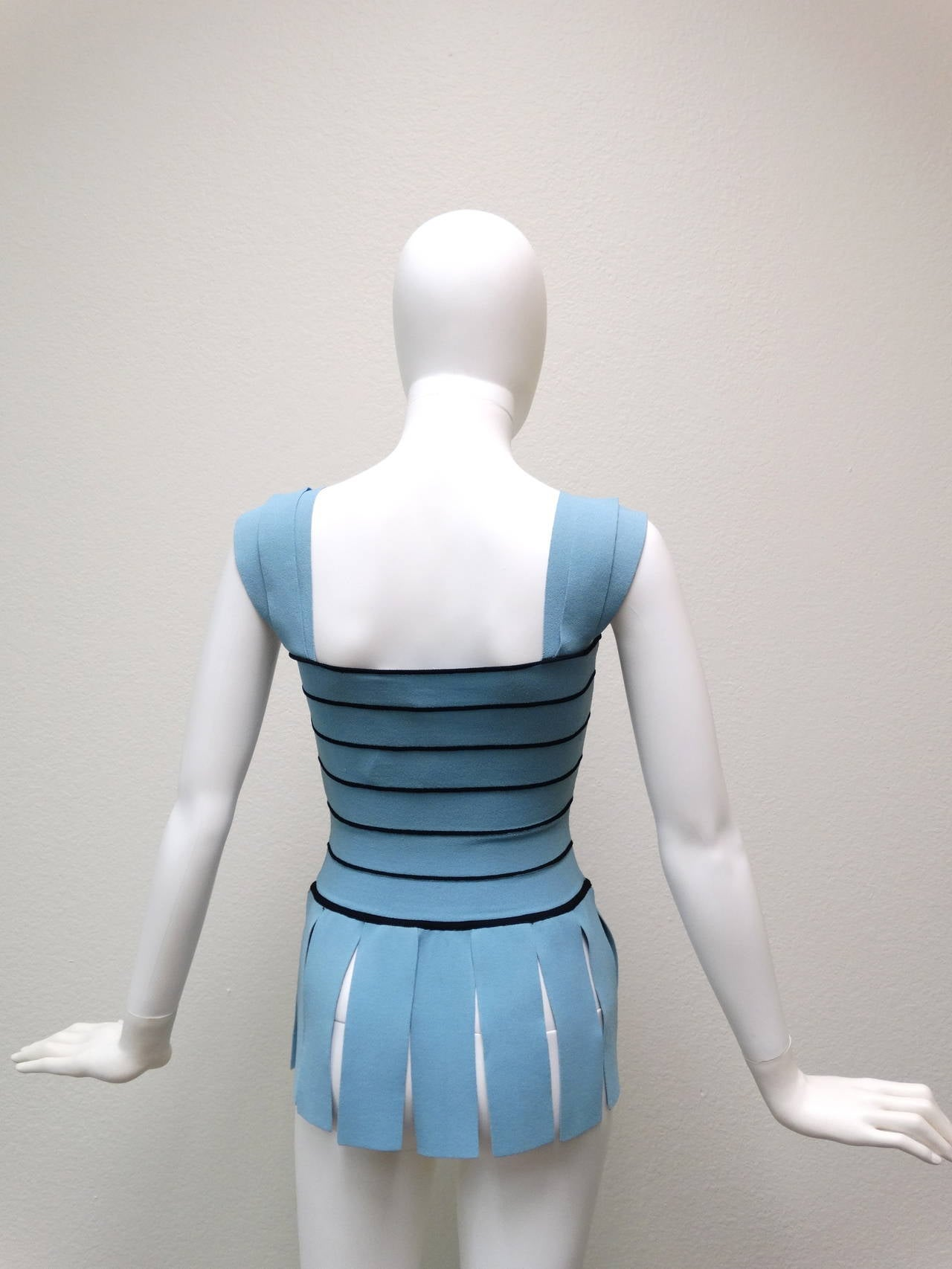 """Blue 1990s Moschino """"Roman CarWash"""" Bandage Bodycon Top For Sale"""