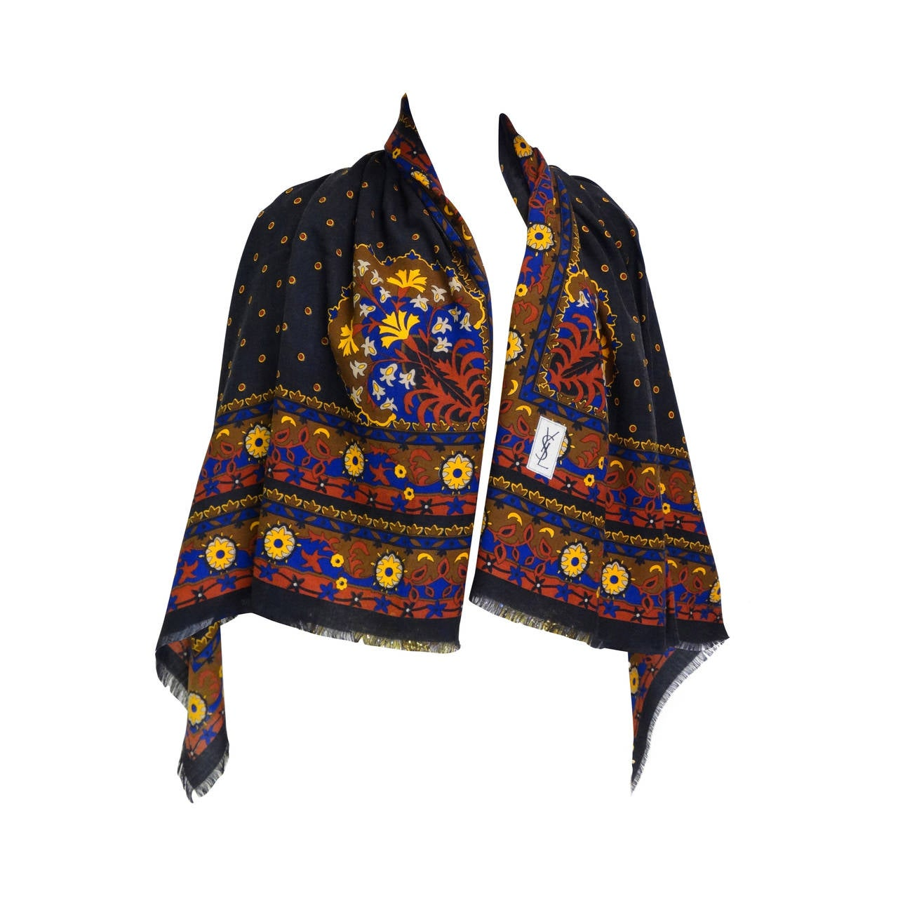 "1970s Yves Saint Laurent ""Moroccan Print"" Wool Challis Shawl For Sale"