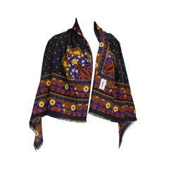 "1970s Yves Saint Laurent ""Moroccan Print"" Wool Challis Shawl"