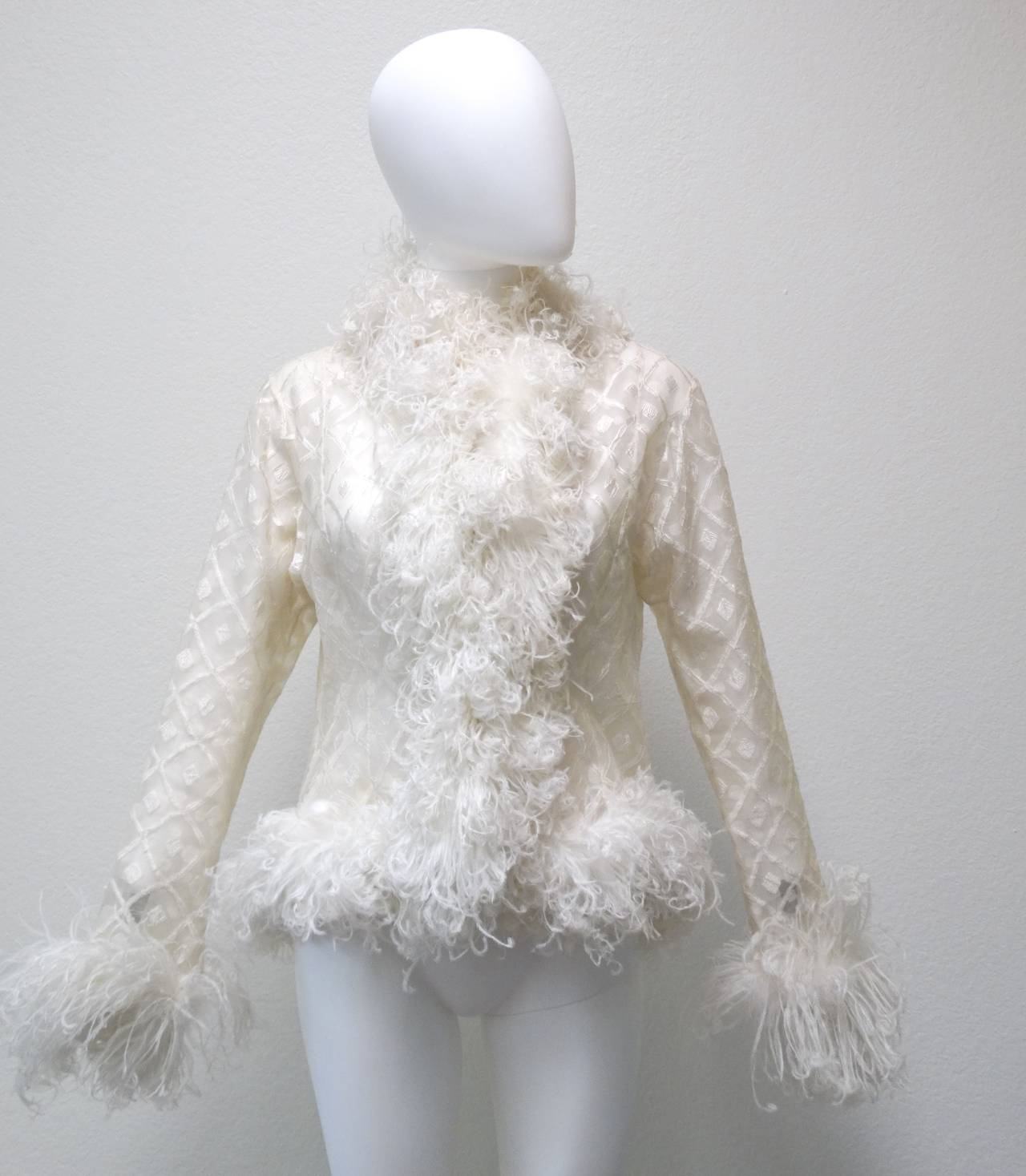 1970s Geoffrey Beene Evening Jacket with Ostrich Feathers 2