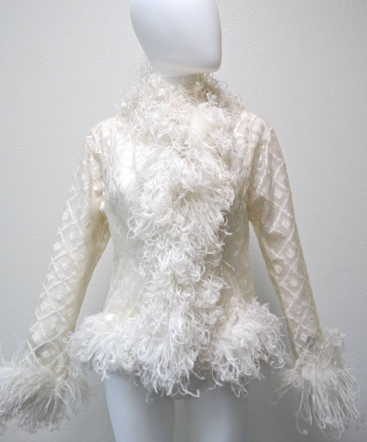 1970s Geoffrey Beene Evening Jacket with Ostrich Feathers 8
