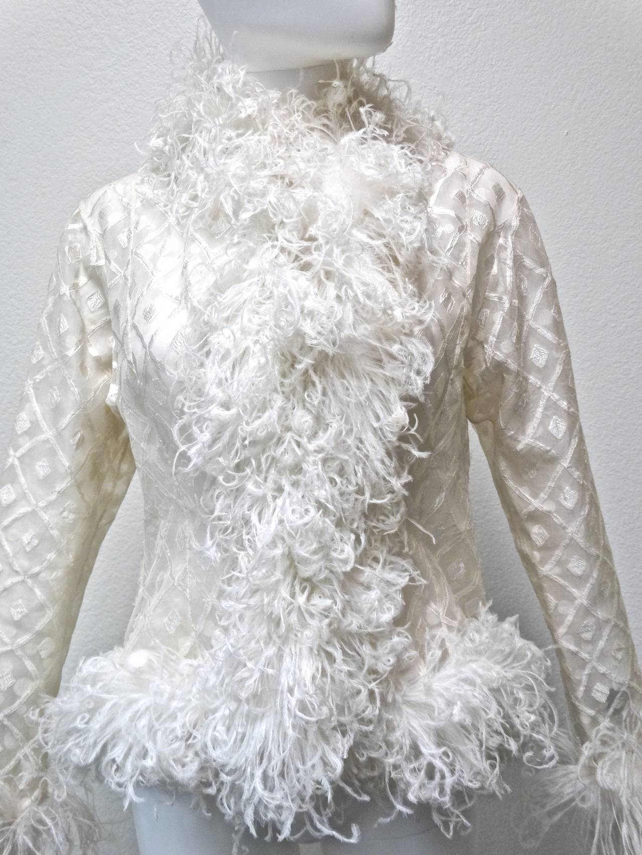 1970s Geoffrey Beene Evening Jacket with Ostrich Feathers 10