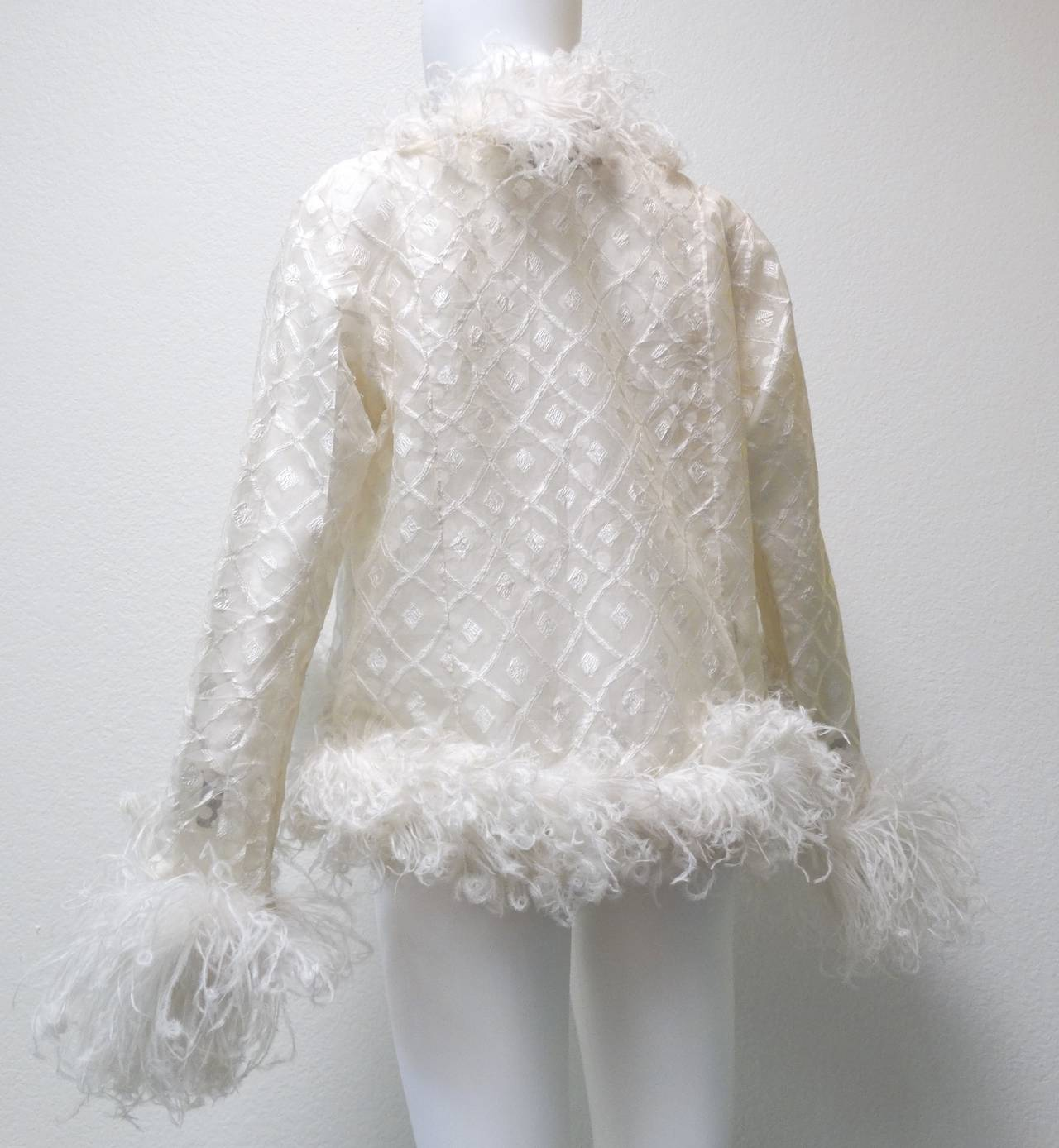 1970s Geoffrey Beene Evening Jacket with Ostrich Feathers 6