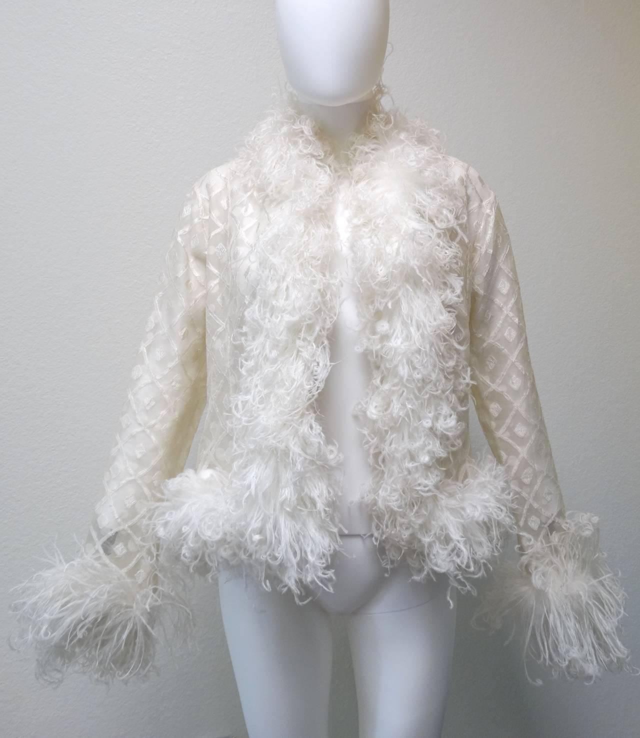 1970s Geoffrey Beene Evening Jacket with Ostrich Feathers 4