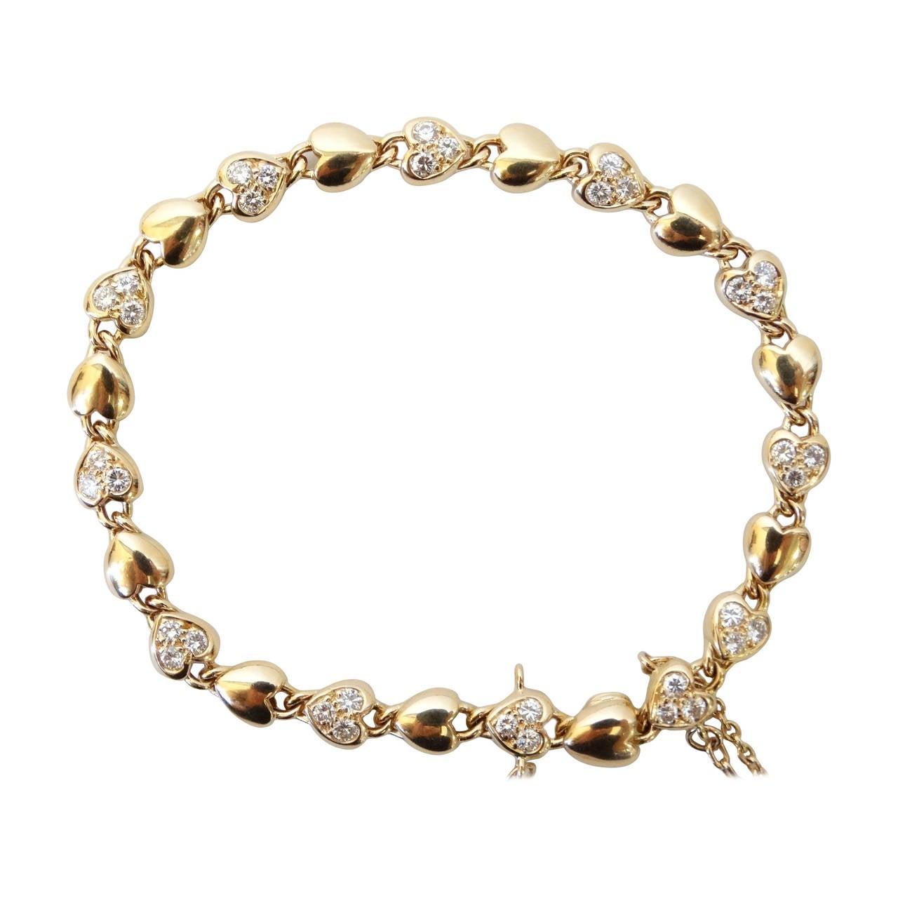 CARTIER 18k Yellow Gold Heart Link Bracelet with Diamonds at 1stdibs