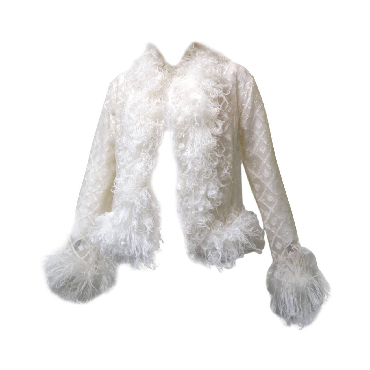 1970s Geoffrey Beene Evening Jacket with Ostrich Feathers 1
