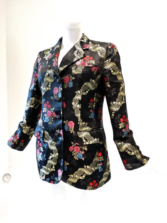 1990s Moschino Couture Silk Evening Jacket  In Excellent Condition For Sale In Scottsdale, AZ