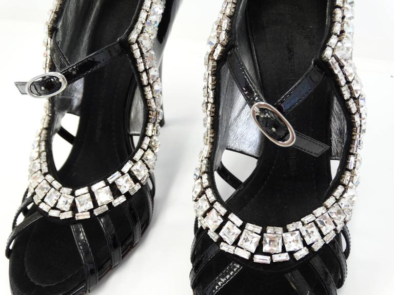 Giuseppe Zanotti Black Patent Rhinestone Heels 5