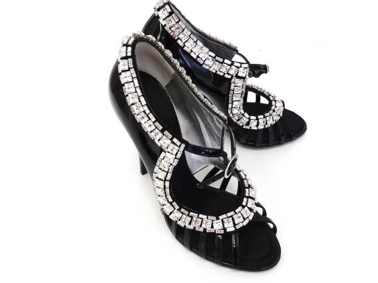 Giuseppe Zanotti Black Patent Rhinestone Heels 9