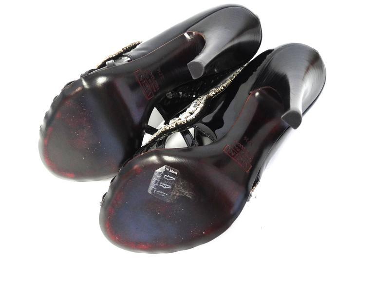 Giuseppe Zanotti Black Patent Rhinestone Heels 8
