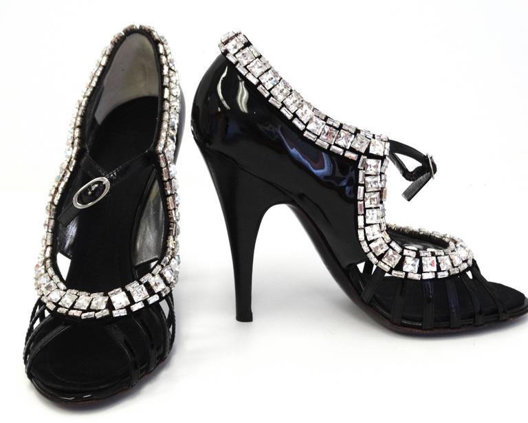 Giuseppe Zanotti Black Patent Rhinestone Heels 6