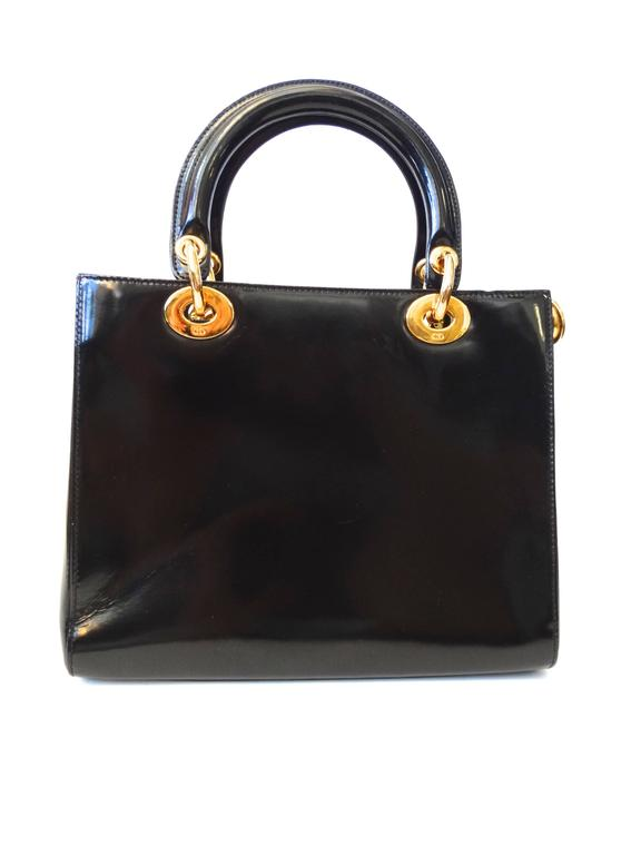 "1995 Christian Dior Black Patent ""Lady Dior"" Bag  5"