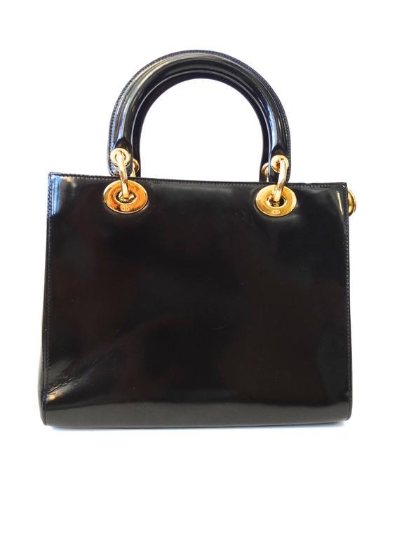 "1995 Christian Dior Black Patent ""Lady Dior"" Bag  For Sale 1"