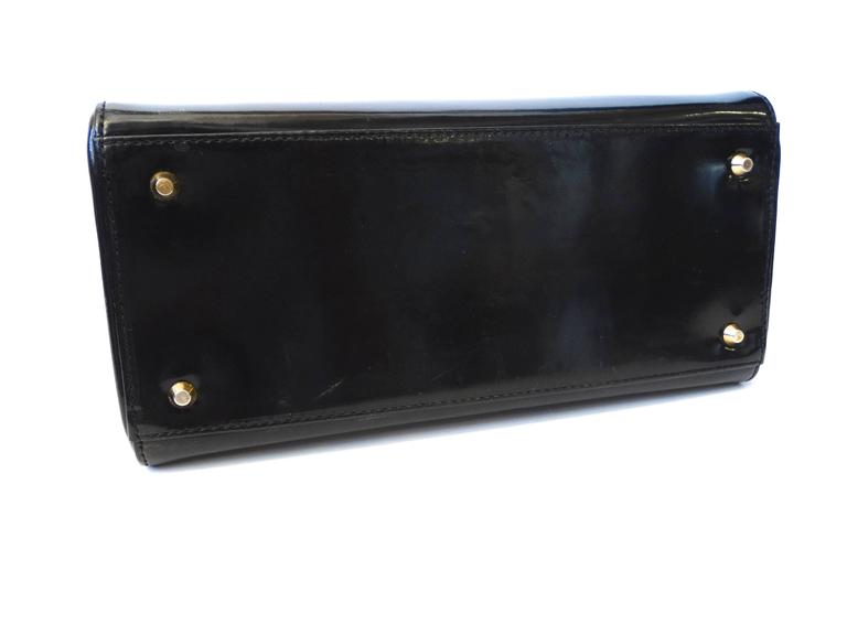"1995 Christian Dior Black Patent ""Lady Dior"" Bag  For Sale 3"