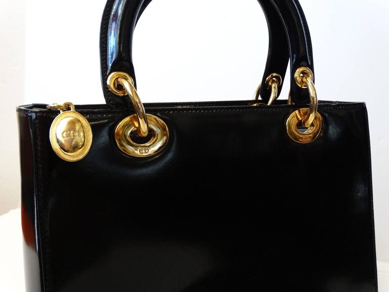 "1995 Christian Dior Black Patent ""Lady Dior"" Bag  8"