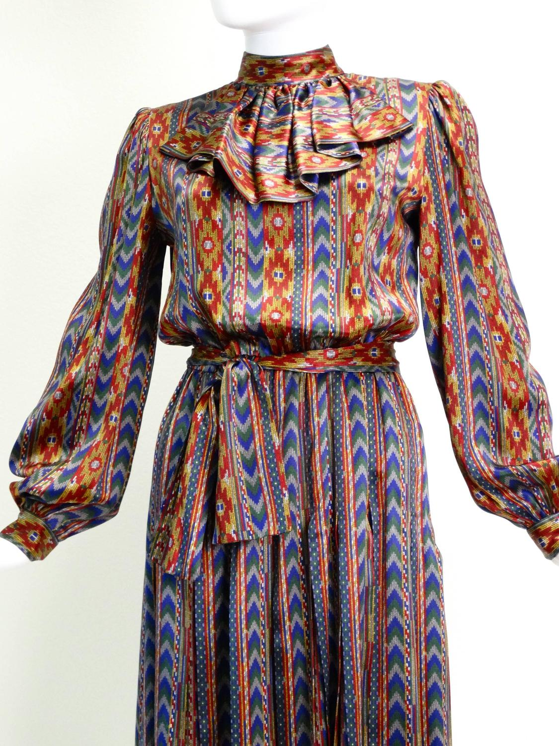 1980s Givenchy Nouvelle Quot Aztec Quot Silk Dress For Sale At 1stdibs