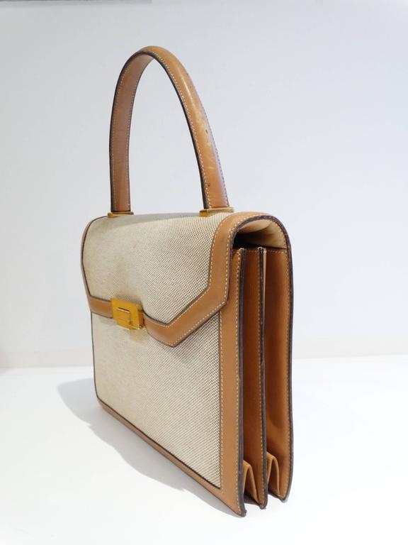 1960s Hermes Tan Canvas Box Leather Top Handle Handbag 4