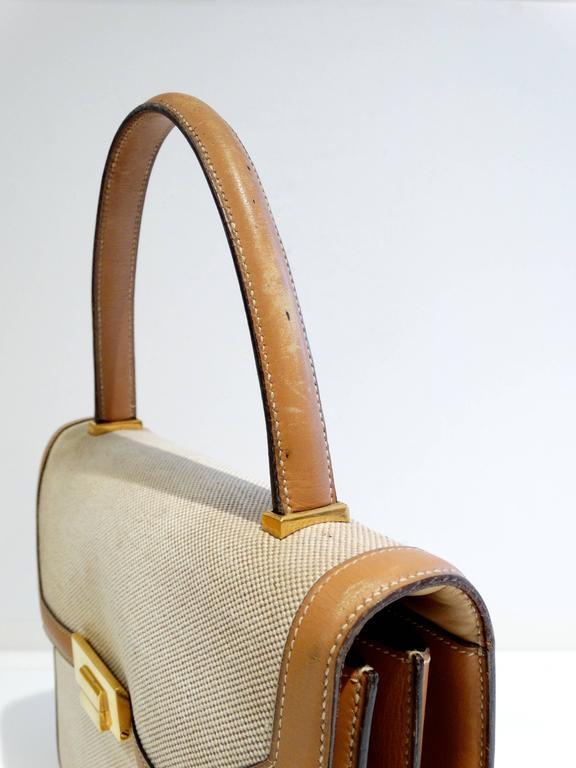 1960s Hermes Tan Canvas Box Leather Top Handle Handbag 5