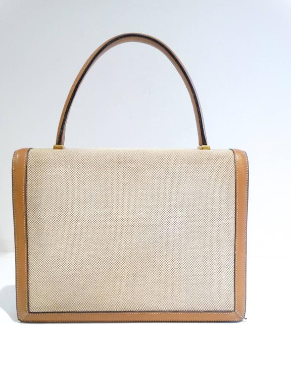 Beige 1960s Hermes Tan Canvas Box Leather Top Handle Handbag For Sale
