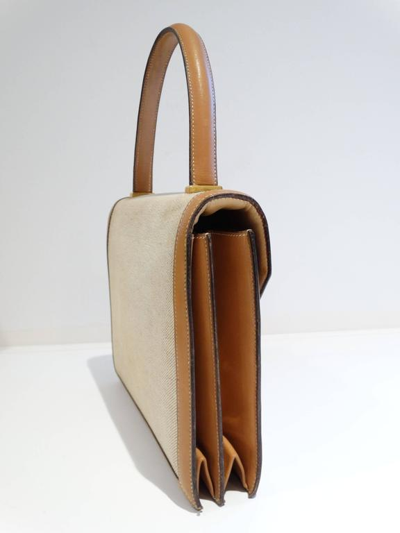 1960s Hermes Tan Canvas Box Leather Top Handle Handbag 7
