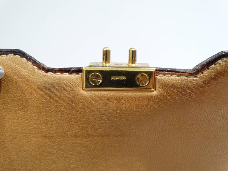 1960s Hermes Tan Canvas Box Leather Top Handle Handbag For Sale 3