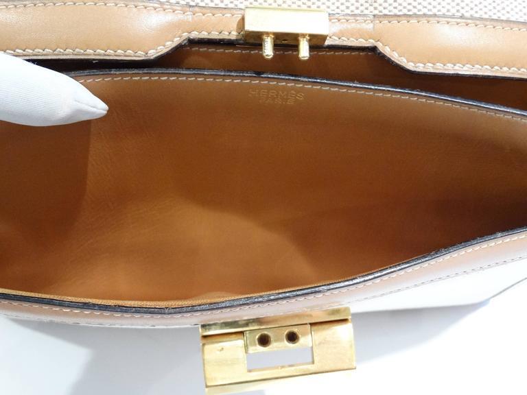 1960s Hermes Tan Canvas Box Leather Top Handle Handbag For Sale 5