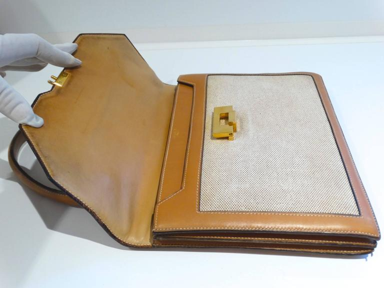1960s Hermes Tan Canvas Box Leather Top Handle Handbag For Sale 4