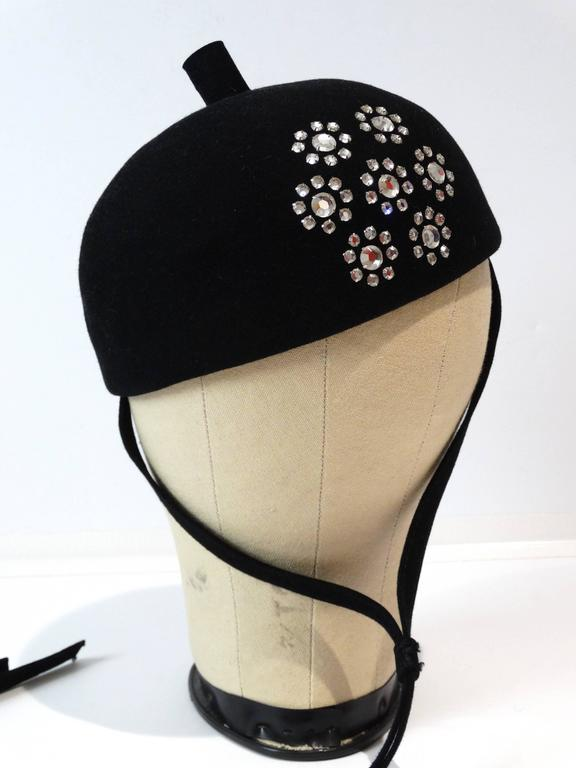 Vintage Adolfo II Paris New York Beret Hat style with Chin Strap. 