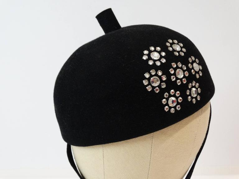 Black 1960s Adolfo II Beret Hat with Floral Crystal Pattern For Sale