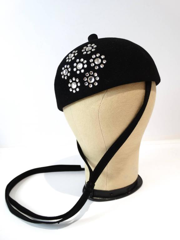 1960s Adolfo II Beret Hat with Floral Crystal Pattern In Excellent Condition For Sale In Scottsdale, AZ