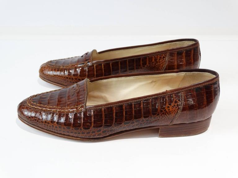 Rare 1980s Chanel Crocodile Loafer In Excellent Condition For Sale In Scottsdale, AZ