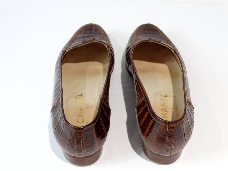 Rare 1980s Chanel Crocodile Loafer 7