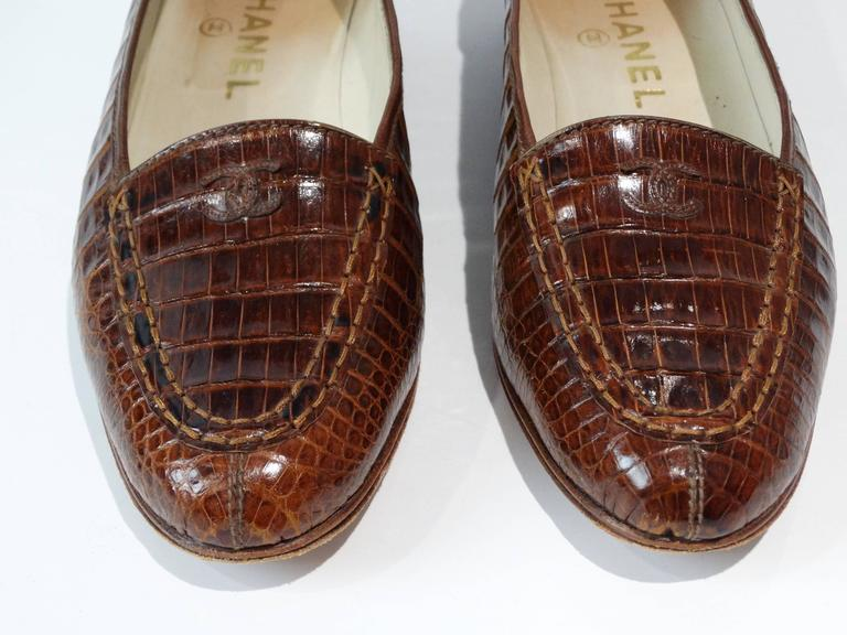 Rare 1980s Chanel Crocodile Loafer For Sale 3