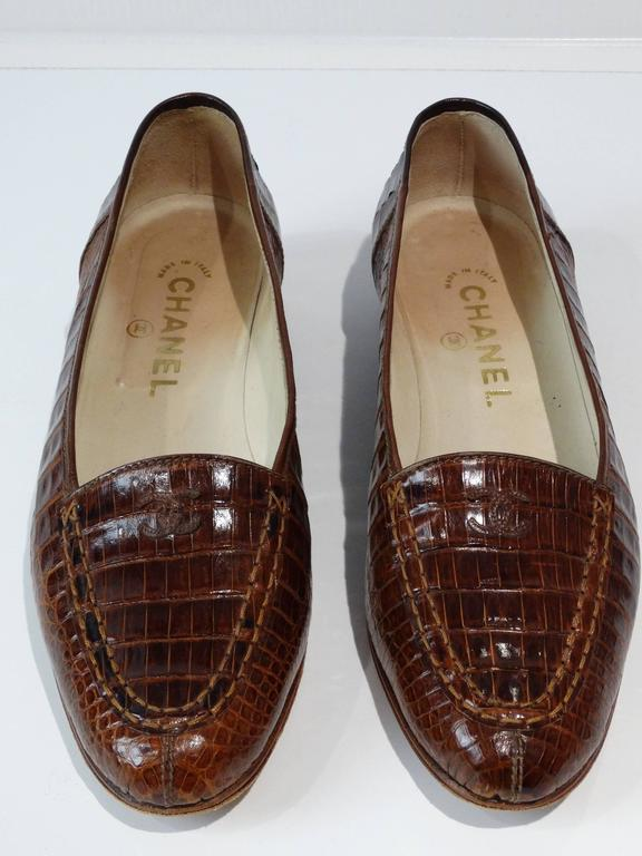 Women's Rare 1980s Chanel Crocodile Loafer For Sale