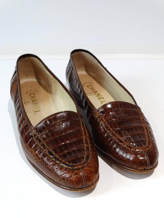 Rare 1980s Chanel Crocodile Loafer For Sale 5