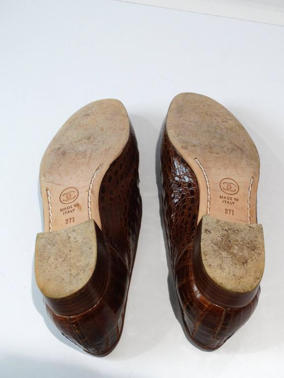 Rare 1980s Chanel Crocodile Loafer 6