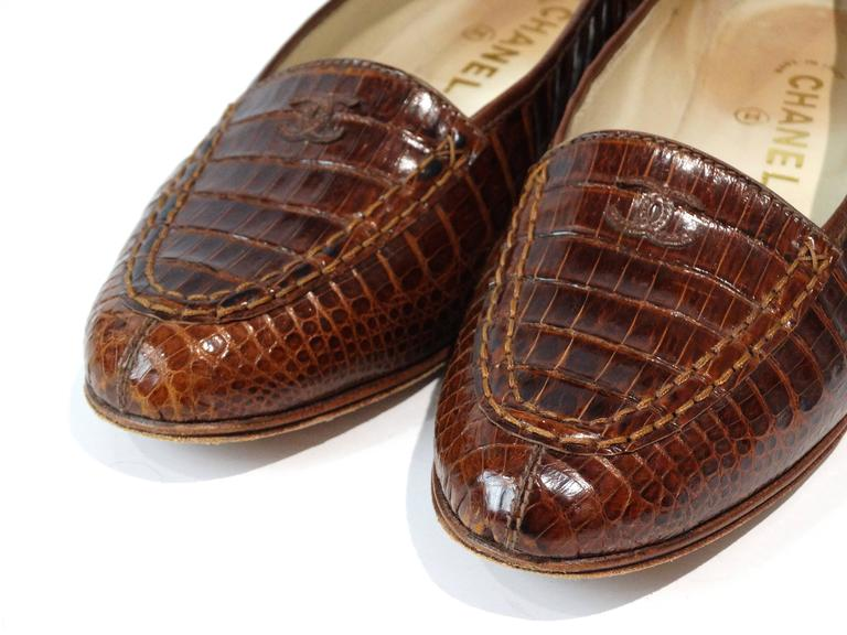 Brown Rare 1980s Chanel Crocodile Loafer For Sale