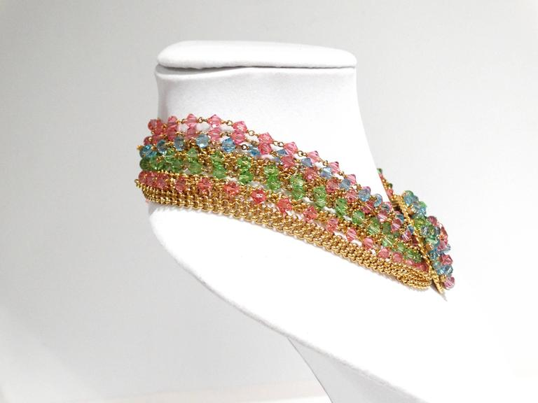 Rare 1970S Chanel Multi Colored Crystal Glass Collar Necklace 5