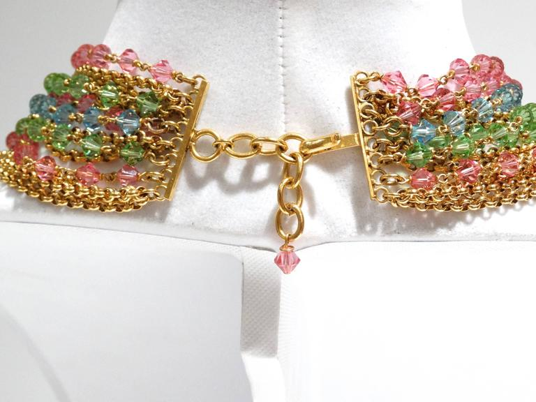 Rare 1970S Chanel Multi Colored Crystal Glass Collar Necklace 6