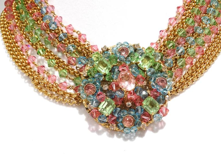 Rare 1970S Chanel Multi Colored Crystal Glass Collar Necklace 9