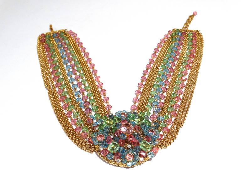 Rare 1970S Chanel Multi Colored Crystal Glass Collar Necklace 2