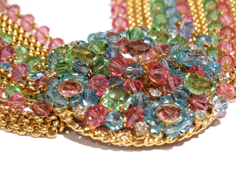Rare 1970S Chanel Multi Colored Crystal Glass Collar Necklace 4