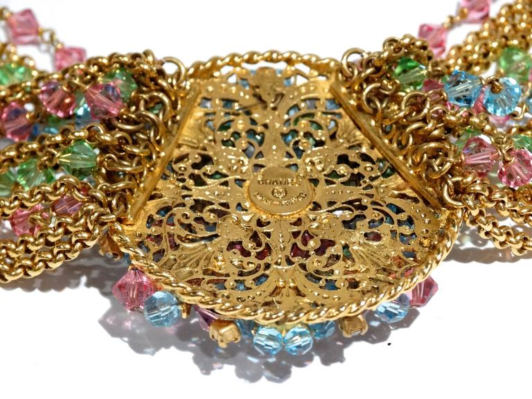 Rare 1970S Chanel Multi Colored Crystal Glass Collar Necklace 3
