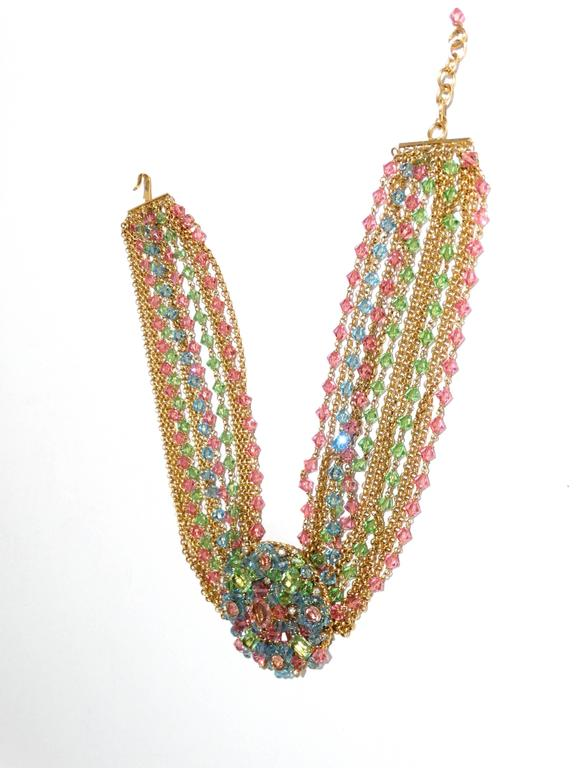 Rare 1970S Chanel Multi Colored Crystal Glass Collar Necklace 10