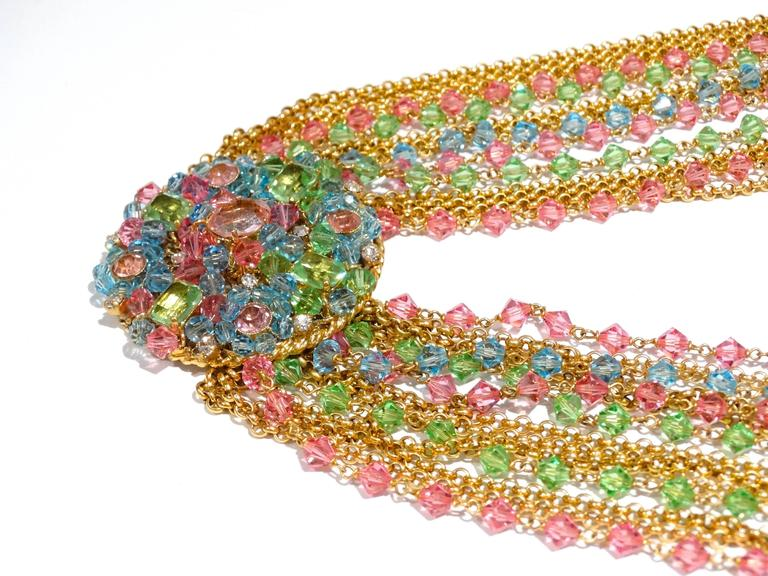 Rare 1970S Chanel Multi Colored Crystal Glass Collar Necklace 8