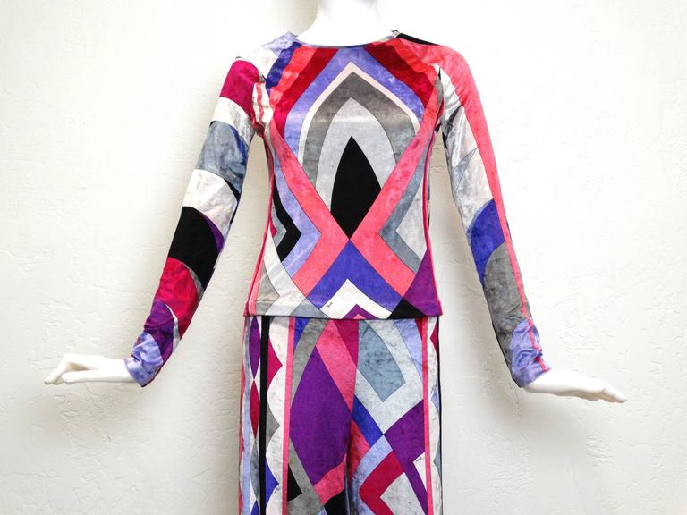 Late 1990's Emilio Pucci Firenze velveteen 2 piece top and pant suit, colorful abstract print in purples, pinks, white, black and grey. Could be worn together or separately. If you would like additional images please request.